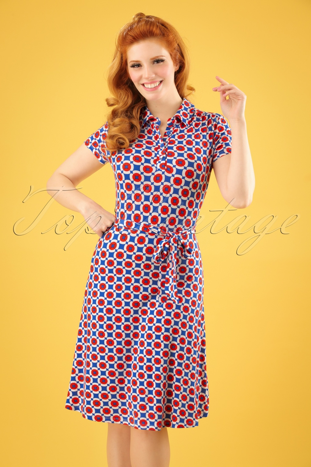 500 Vintage Style Dresses for Sale 60s Becky Swing Dress in Blue and Red £60.48 AT vintagedancer.com