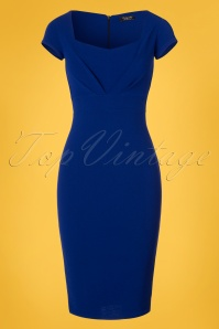 Vintage Chic Jumbo Crepe Royal Blue Pencil Dress 100 30 24504 20180307 0002W