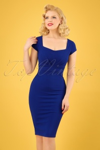 Vintage Chic Jumbo Crepe Royal Blue Pencil Dress 100 30 24504 20180307 01W