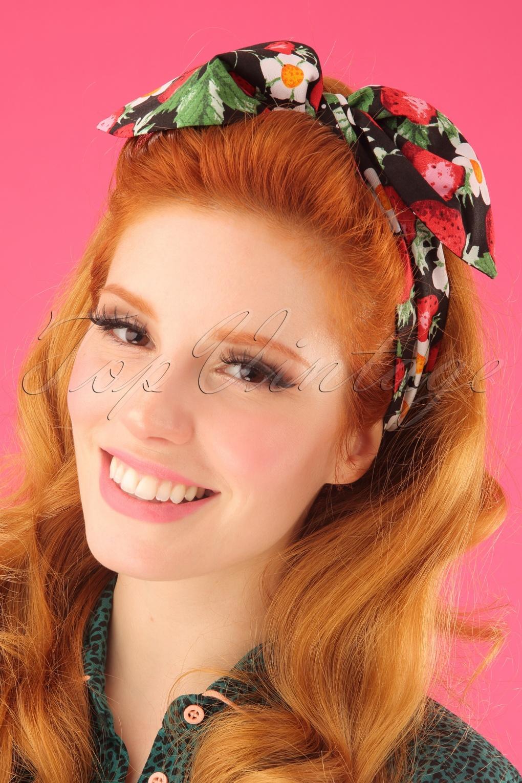 Vintage Hair Accessories: Combs, Headbands, Flowers, Scarf, Wigs 50s Strawberry Sundae Hair Tie in Black £7.96 AT vintagedancer.com
