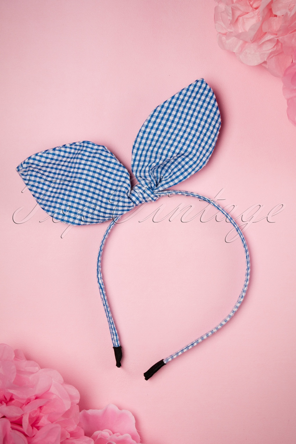 Vintage Hair Accessories: Combs, Headbands, Flowers, Scarf, Wigs 50s Gingham Head Band in Blue and White £9.73 AT vintagedancer.com