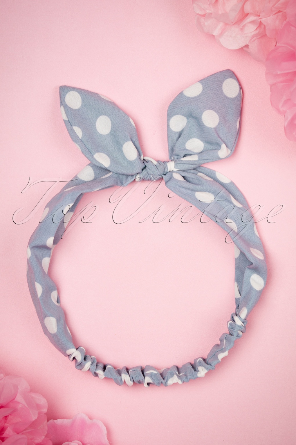 Vintage Hair Accessories: Combs, Headbands, Flowers, Scarf, Wigs 50s Polkadot Headband in Baby Blue £10.62 AT vintagedancer.com