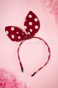 50s Bow Polkadot Head Band in Red