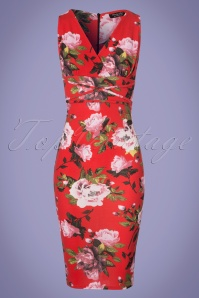 Vintage Chic Criss Cross Orange Floral Pencil Dress 100 27 24488 20180307 0001W