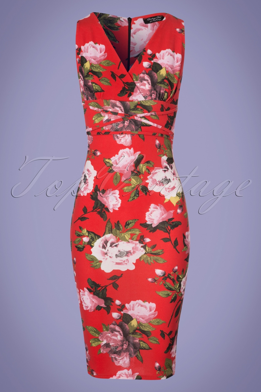 Wiggle Dresses | Pencil Dresses 50s Diana Flower Pencil Dress in Tangerine £43.19 AT vintagedancer.com