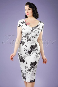 50s Veronique Floral Pencil Dress in White