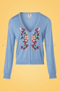 Yumi Light Blue Floral Bird Cardigan 140 30 22935 20180308 0004w