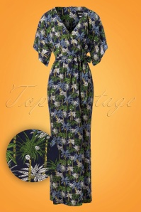 70s Kelly Palm Tree Maxi Dress in Navy