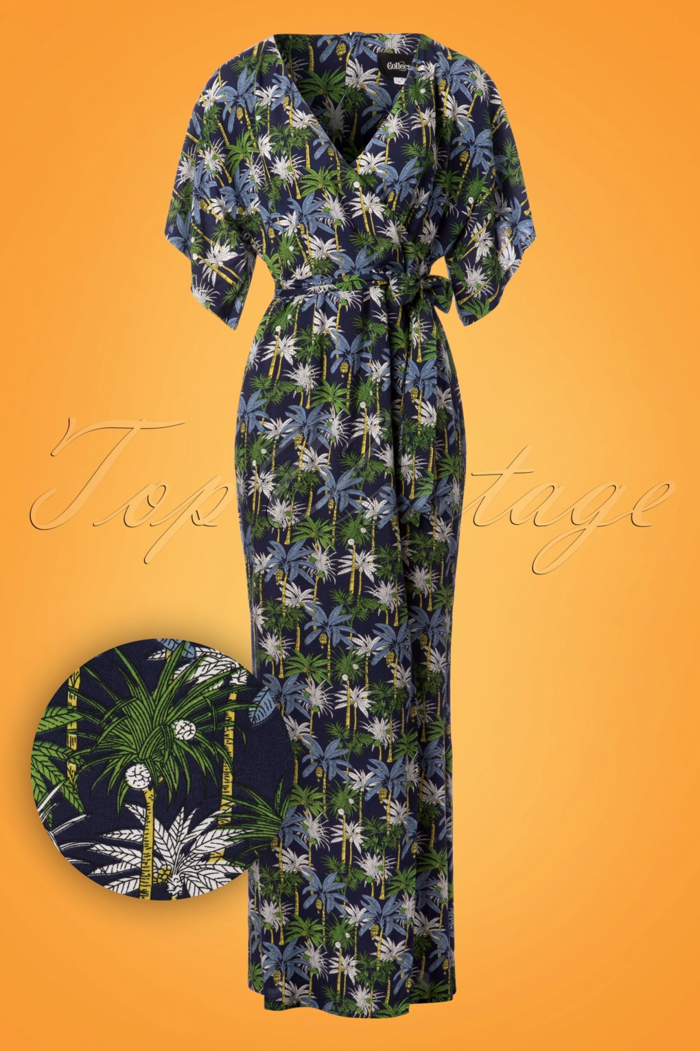 500 Vintage Style Dresses for Sale 70s Kelly Palm Tree Maxi Dress in Navy £57.89 AT vintagedancer.com