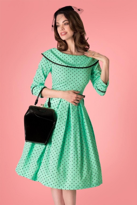 50s Ice Coffee Polkadot Swing Dress in Mint