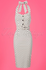 Collectif Clothing Wanda Polkadot Pencil Dress in White 22833 20171120 0003W