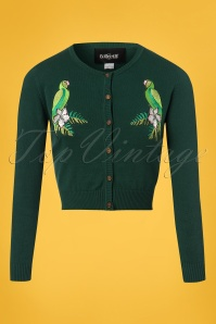 Collectif Clothing Jessie Tropical Parrot Cardigan in Green 22535 20171122 0004W
