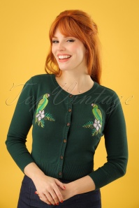 50s Jessie Tropical Parrot Cardigan in Green