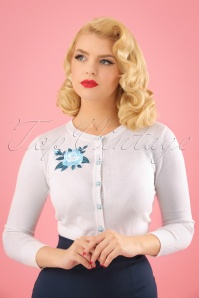 50s Jessie Rose Embroidery Cardigan in White