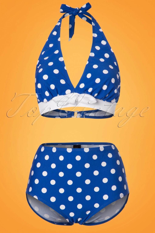 Missy Dots Bikini Pants Années 50 en Bleu et Blanc