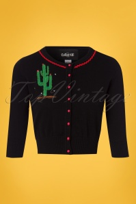 Collectif Clothing Lucy Cactus Cardigan in Black 22537 20171122 0006W