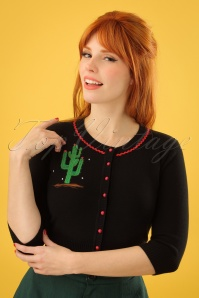50s Lucy Cactus Cardigan in Black