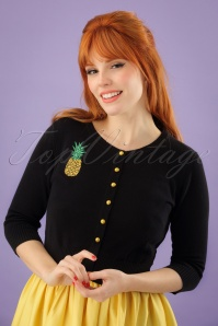 50s Lucy Pineapple Cardigan in Black