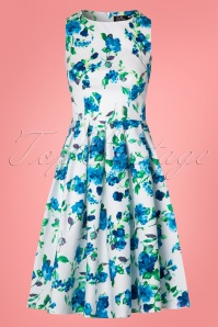 Dolly and Dotty Annie Swing Dress White Blue Flowers 102 59 24226 20180305 0005W
