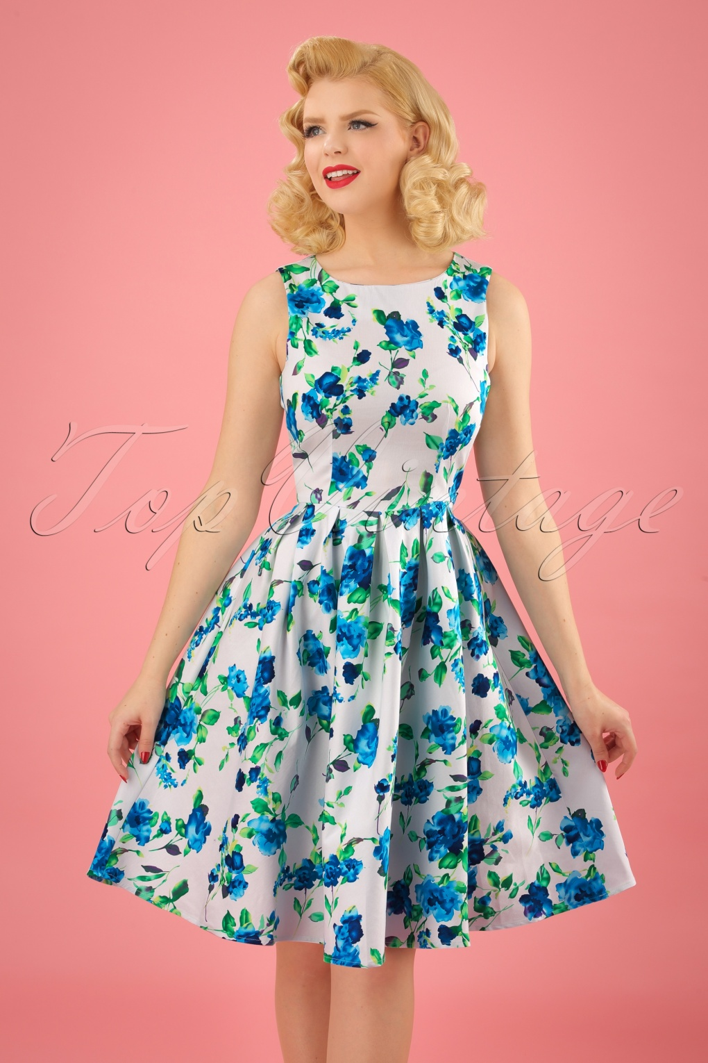 50s Annie Floral Swing Dress in White and Blue