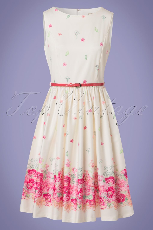 Vintage Tea Dresses, Floral Tea Dresses, Tea Length Dresses 50s Audrey Floral Swing Dress in Cream £37.36 AT vintagedancer.com
