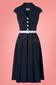 Miss Candyfloss Navy White Dress 102 31 24181 20180308 0003w