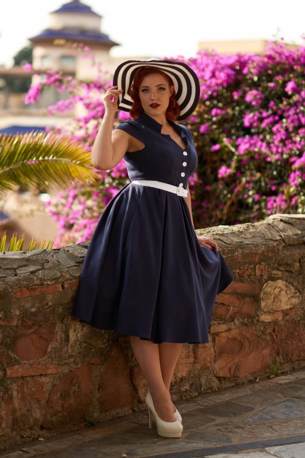 Sailor Dresses, Nautical Dress, Pin Up & WW2 Dresses 50s Alessia Lee Swing Dress in Navy £89.38 AT vintagedancer.com