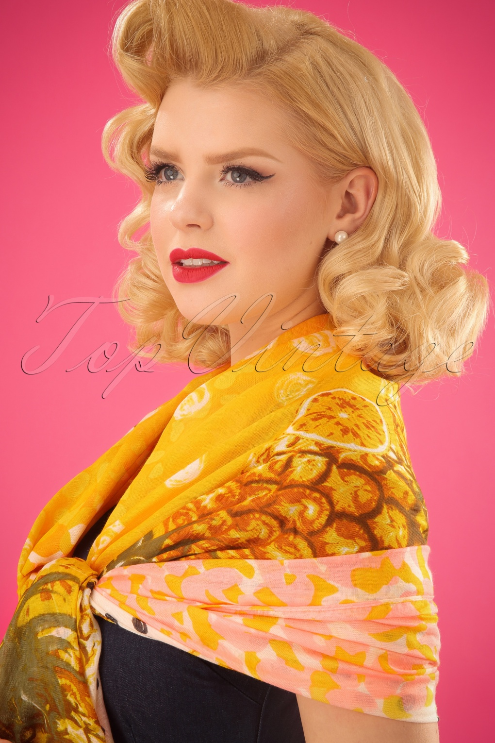 Vintage Scarf Styles -1920s to 1960s 70s Tropical Pineapple Scarf in Yellow £21.86 AT vintagedancer.com