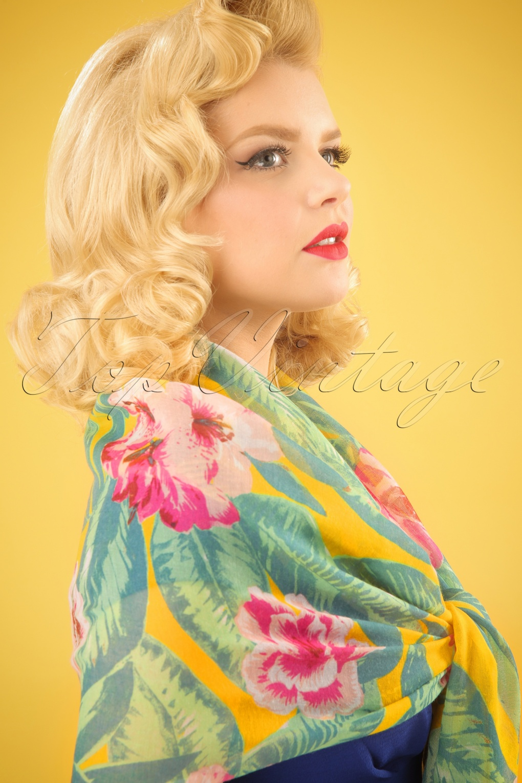 Vintage Scarves- New in the 1920s to 1960s Styles 60s Tropical Flower Scarf in Yellow £13.25 AT vintagedancer.com