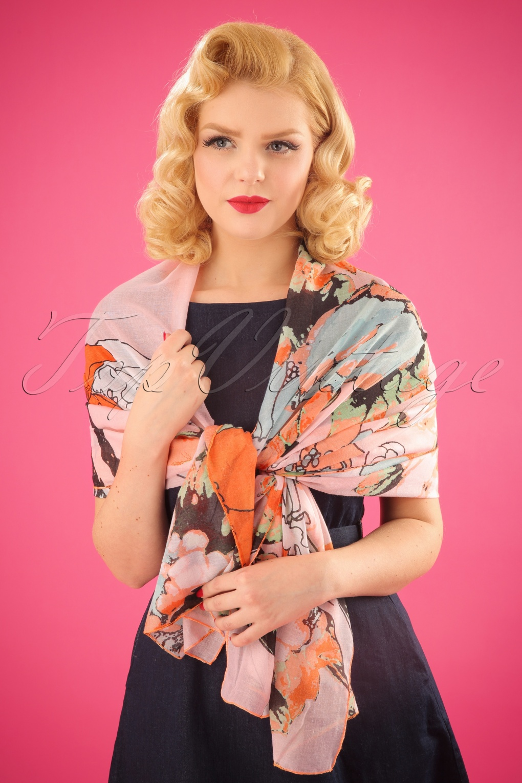 Vintage Scarf Styles -1920s to 1960s 70s Retro Flowers Scarf in Orange £21.86 AT vintagedancer.com