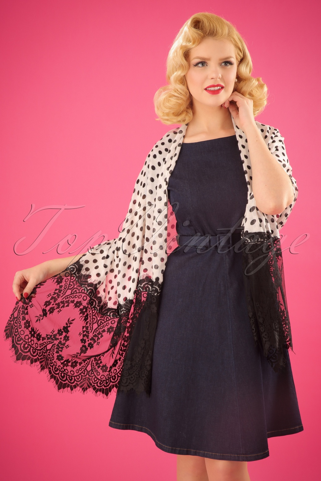 Vintage Scarf Styles -1920s to 1960s 50s Rowena Scarf in Black and White £26.24 AT vintagedancer.com