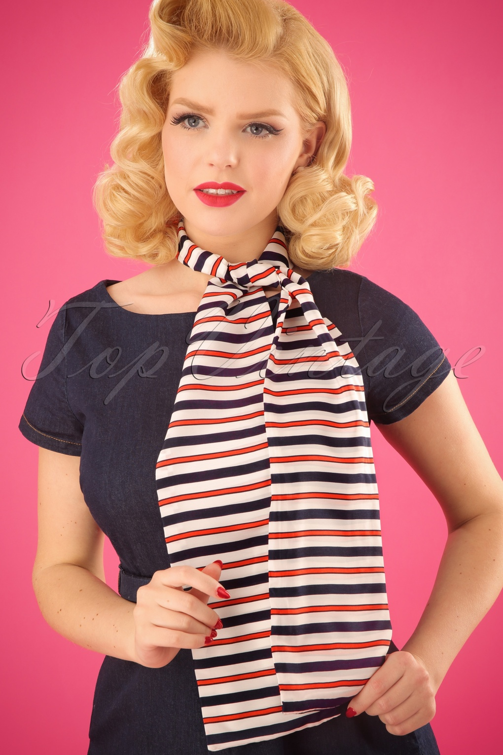 Vintage Scarf Styles -1920s to 1960s 50s Hugo Striped Scarf in White and Navy £15.73 AT vintagedancer.com
