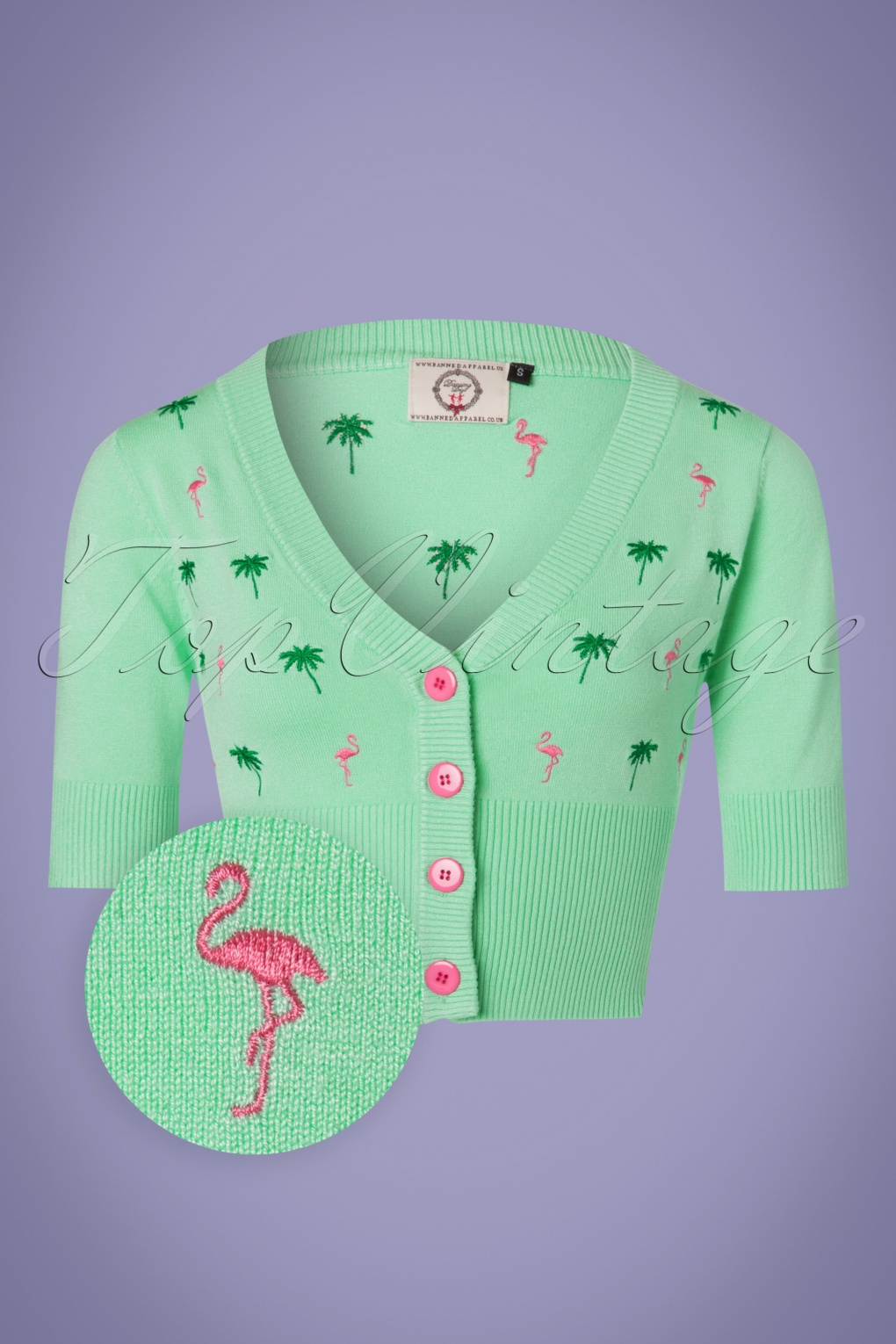 Vintage Sweaters: Cable Knit, Fair Isle Cardigans & Sweaters 50s Flamingo Cardigan in Mint and Pink £33.65 AT vintagedancer.com