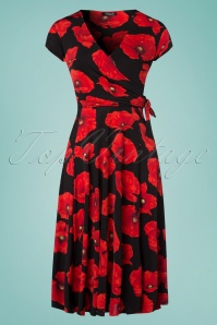 50s Layla Poppy Cross Over Dress in Black