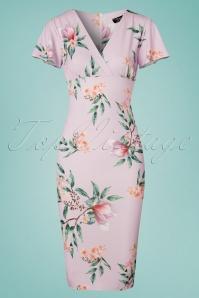 Lilly Floral Pencil Dress Années 50 en Lilas