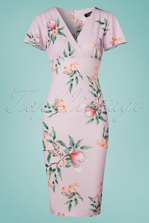 Vintage Tea Dresses, Floral Tea Dresses, Tea Length Dresses 50s Lilly Floral Pencil Dress in Lilac £47.79 AT vintagedancer.com