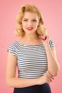60s Tina Breton Stripe Top in Cream