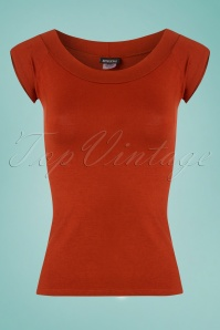 Retrolicious Rust Boat Neck Top  110 20 25130 20180305 0003W