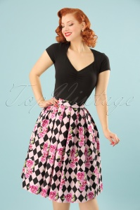 King Louie Harlequin 50s Black and Pink Skirt 122 29 24085 20180213 0009W