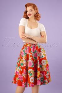 50s Marguerita Swing Skirt in Orange