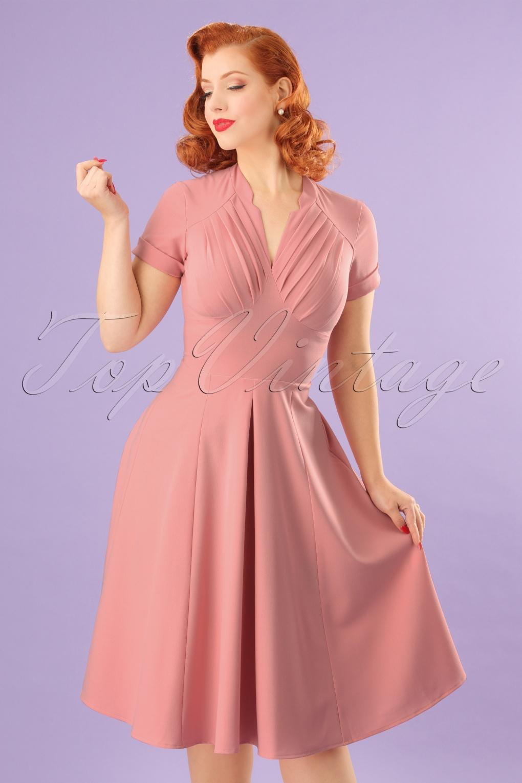 734006f5698 50s Elena Gia Swing Dress in Blush
