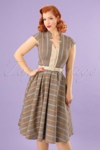 50s Romina Sandy Swing Dress in Tartan Yellow