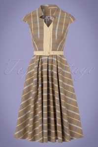 Miss Candyfloss Tan Yellow Swing Dress 102 89 24190 20180215 0008W