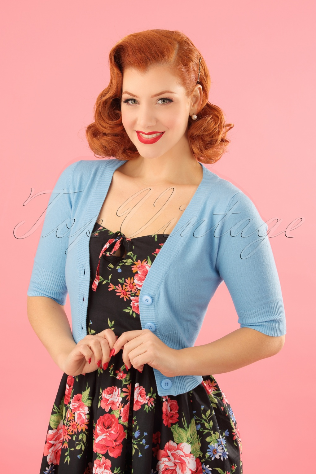 1960s Style Dresses, Clothing, Shoes UK 50s Overload Cardigan in Baby Blue £27.86 AT vintagedancer.com