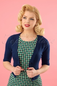 Banned Retro 50s Overload Cardigan in Night Blue