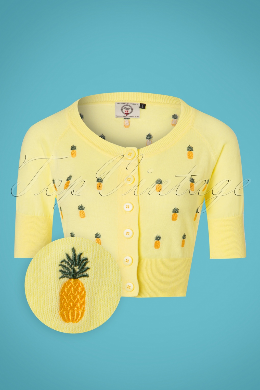 Vintage Sweaters: Cable Knit, Fair Isle Cardigans & Sweaters 50s Pineapple Cardigan in Yellow £34.52 AT vintagedancer.com