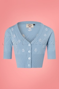 50s Set Sail Cardigan in Baby Blue