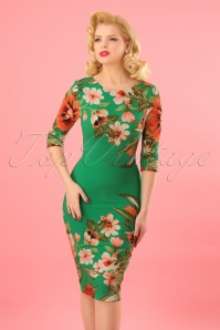 Vintage Chic 60s Aloha Green Floral Pencil Dress 100 49 23929 20180125 0008W