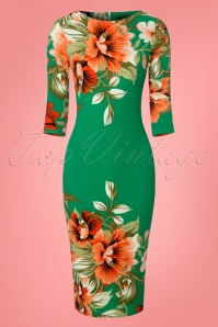 Vintage Chic 60s Aloha Green Floral Pencil Dress 100 49 23929 20180125 0001w