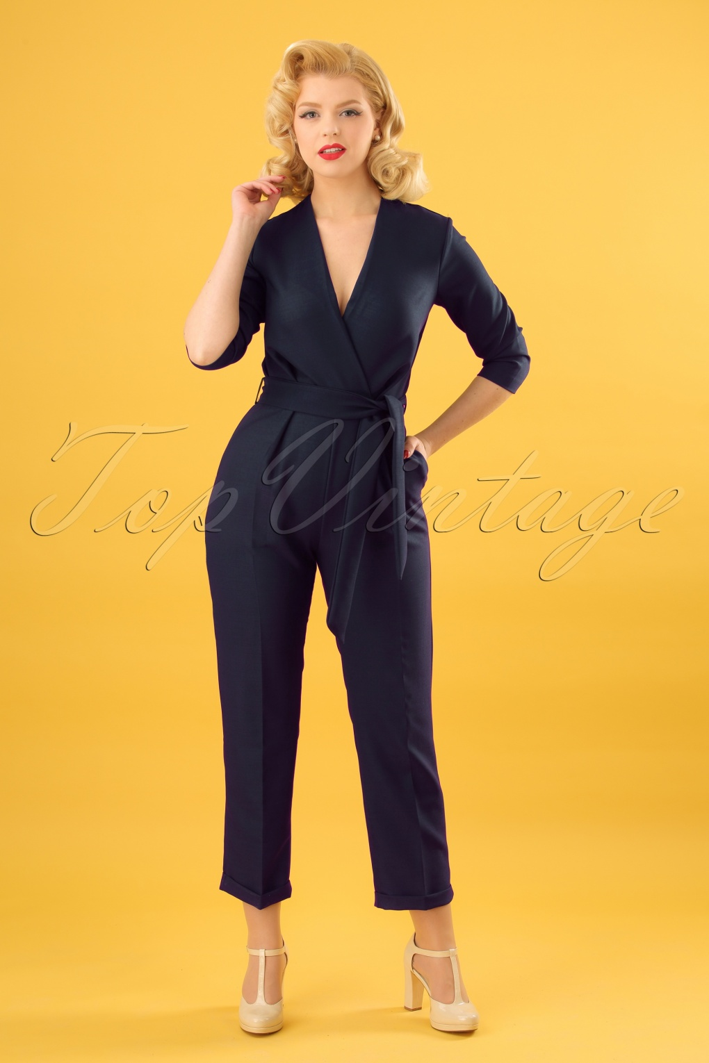 Vintage High Waisted Trousers, Sailor Pants, Jeans 60s Marcia Crossover Jumpsuit in Navy £79.12 AT vintagedancer.com